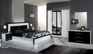 MILANO [ white - black / 4 doors wardrobe ]
